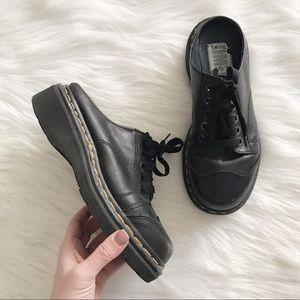DR MARTENS Doc Black Leather Lace Up Clogs Mules